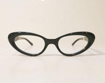 Vintage Safilo 50's & 60's Black Cateye Eyeglass Frames, NOS, Made in Italy, Italian Black Cat Eye Glasses Frames, Bombshell Black Cat Eyes