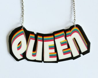 "Illustrated ""QUEEN"" necklace // statement necklace // shrink plastic jewelry // quirky jewelry // gift for her"
