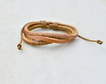leather bracelet • men women • kraft