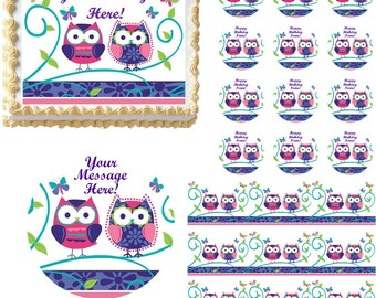 Cute PATCHWORK OWLS Edible Cake Topper Image Frosting Sheet Edible Cake Topper Image Frosting Sheet Cake Cupcake Decoration Many Sizes!