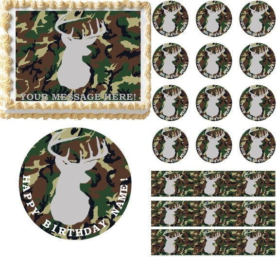 Edible Hunting Cake Decorations : Camouflage Deer Hunting Camo Edible Cake Topper Image Frosting