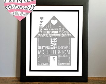 New home gift personalised print typography - Modern - Wall art - House print - Black and white - Various colours - Personalized