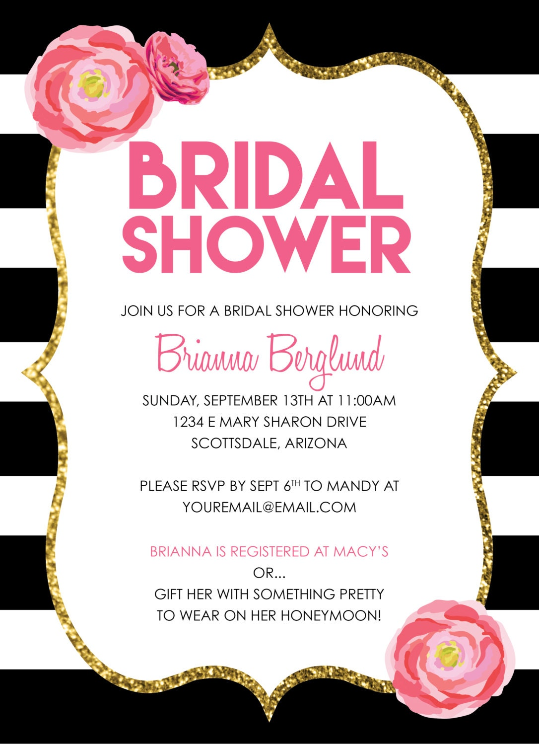 Bridal shower invitations black white and pink customized for Black and white bridal shower invitations