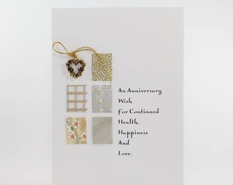 """Handmade Greeting Card - """"An Anniversary Wish..."""" Heart Charm with Fine Art Papers"""