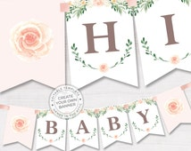 Floral baby shower banner, pink rose baby shower, bridal shower banner, spring celebration editable banner, DIGITAL download PDF
