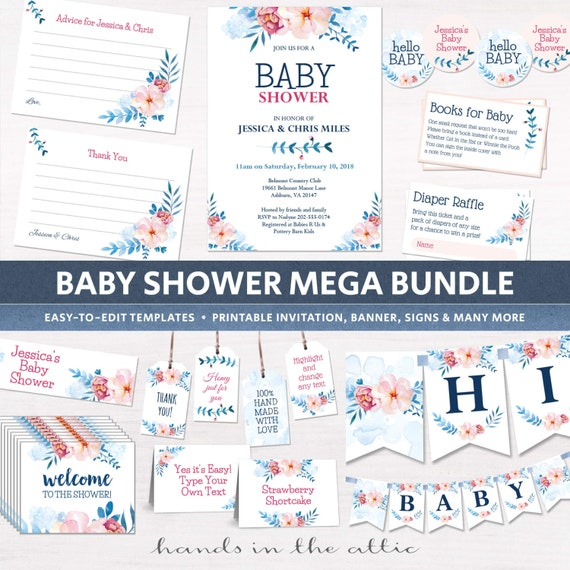 Floral couples shower decor printable templates baby for Baby shower decoration packages