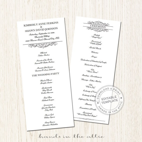 wedding party schedule template - day of schedule printable wedding program template