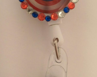 Captain America Badge Reel - Retractable ID Badge Holder, Name Tag