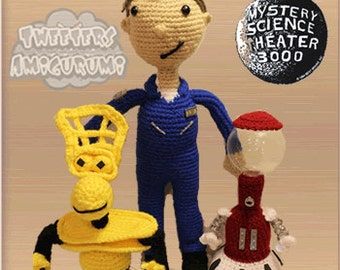 Mike Nelson, Tom Servo, and Crow T. Robot from Mystery Science Theater 3000 (MST3K)