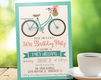 Vintage Bicycle, Retro Birthday Party Invitation - Personalized Printable DIGITAL FILE