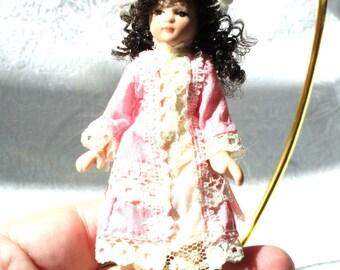 Vintage Victorian Doll Christmas Ornament, Brunette Victorian Doll Ornament, Victorian Doll Decor, Porcelain Doll Ornament, Victorian Decor