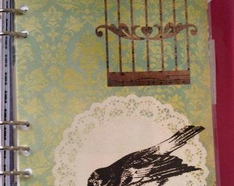 Filofax A5 Bird, Bird Cage, Doilies Dashboard