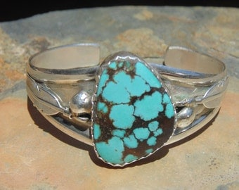 John Renner ~ Sterling Silver and Large Turquoise Stone Feather Cuff Bracelet