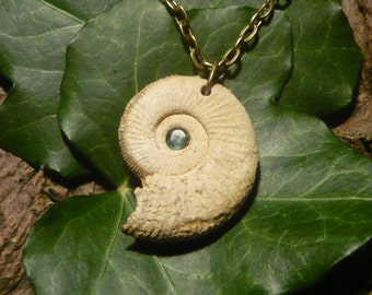 Ancient Sea - Natural Ammonite Pendant with small Emerald