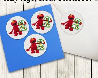 Elmo Stickers, Elmo birthday invite stickers, Elmo Labels, Elmo Birthday Party, Elmo favor, stickers, Elmo Seals, Elmo birthday, 387361482