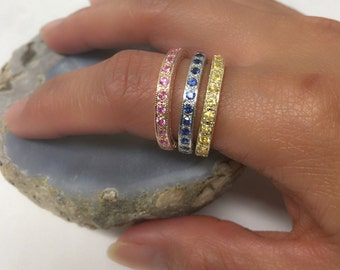 14K Eternity Bands with Precious stones