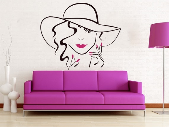 Items similar to face makeup wall decal lips eyes vinyl - Stickers salon design ...