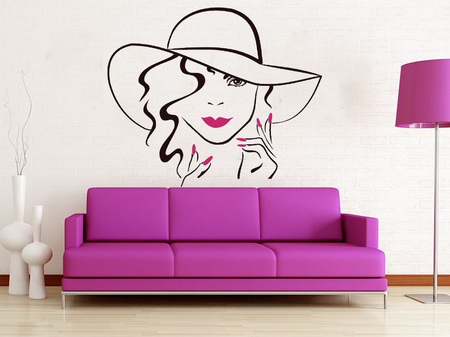 Face makeup wall decal lips eyes vinyl sticker decals girl for Interieur stickers