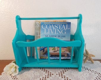 Aqua Turquoise Blue Magazine Rack Rustic Shabby Chic Distressed Up Cycled Vintage Wood Beach Cottage Country Farmhouse Home Decor Storage
