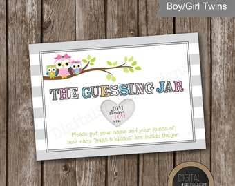 TWIN Woodland Owls The Guessing Jar Baby Shower Game  - Instant Download - Fraternal Twins - Identical Twins - Boy/Girl Twins - Size 5x7 -