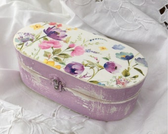 Wooden Jewellery Box, Victorian Vintage Box, Rustic Keepsake Box, Desk Storage Box, Trinket Box, Gift For Her, Shabby Gift Box, Lilac Floral