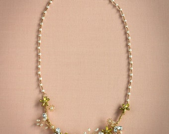 Fleur Necklace - Bridal Necklace, Bridal Jewelry, Bridal Accessory, Floral Necklace