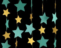 Shiny Gold and Teal Star Garland - Dark Aqua Blue Star Garland, Blue and Gold Garland, Girls Birthday Party Garland - GS020TeMtGd