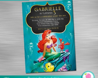 Little Mermaid Invitation, Little Mermaid Birthday, Little Mermaid Party,  Little Mermaid Printable Invitation DIY