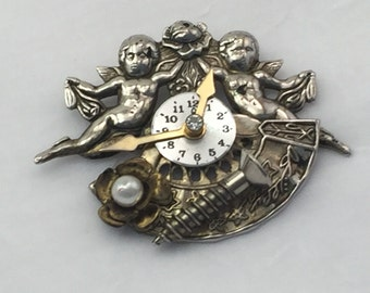 Steam punk brooch, steam punk pin, steam punk jewelry, angels