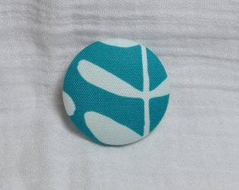 Turquoise Fabric Brooch - Covered Button Pin - Fun Gift - Broach - Broche