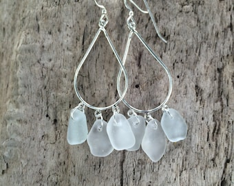 Sterling Silver Genuine Surf Tumbled White Sea Beach Glass Chandelier Earrings