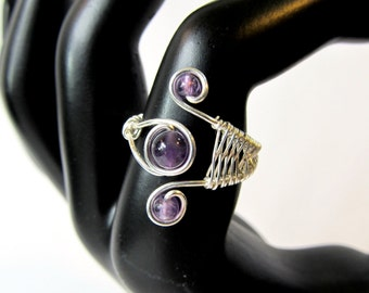 Amethyst Wire Wrapped Ring, Sterling Silver Wire Wrapped Ring, Three Stone Wire Weave Ring, Handmade Gift for Her, Boho Adjustable Ring