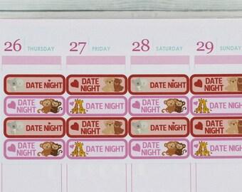Date Night Planner Stickers for Erin Condren, Date Night Stickers, Quarter Boxes, Date Stickers, Date Planner Stickers