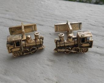 Vintage Train Engine Cufflinks Gift For Groomsmen, Groom, Dad, Husband.