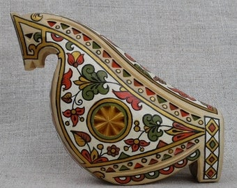 Wooden painted whistle horse/Russian style.Whistle in the form of horses.Whistle Horse toy Handmade Horse Whistle.Ocarina of wood.
