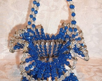 Vintage Beaded Safety Pin Basket with Blue and Clear Beads and a Fluted Edge