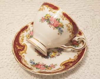 "SALE! Vintage Tuscan ""Naples"" Bone China Tea Cup & Saucer"