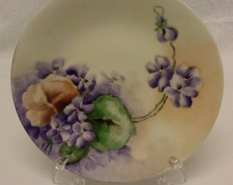 HAND PAINTED PLATE, Porcelain, Signed, Limoges, France, Violets