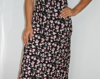 S 90's Black Pink and White Floral Empire Waisted Maxi Dress Size Small
