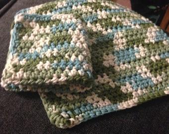 Crocheted Washcloths - Set of 3, multicolour