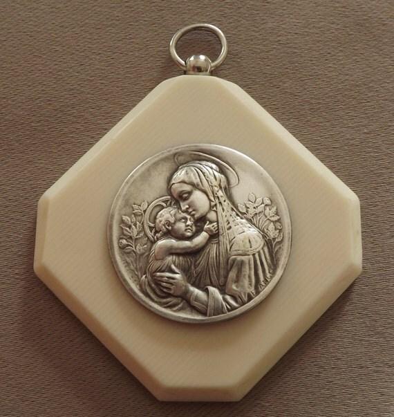French art deco vintage crib cradle baby protector medal - Deco babybed ...