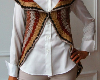 Crochet cardigan sweater, crochet poncho crochet vest, sleeveless crochet poncho, crochet, Cape wool, Cape, poncho