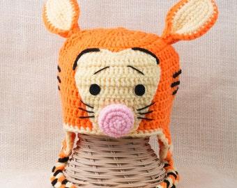Crochet Tiger Hat, Earflap Hat, Gift for Kids