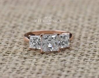 3.20 CT Three Stone Princess Cut Ring Engagement Wedding Band 14K or 18K Rose Gold Triple Stone ring