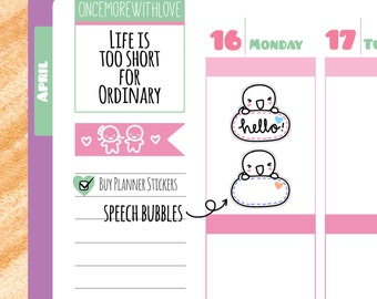 Munchkins - Message Speech Bubble Planner Stickers (M91)