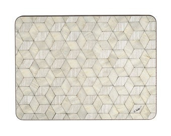 6 Ivory placemats Retro Place Mats Art Deco Tablemat Set 6 mother of pearl placemats Hollywood Regency Table Mat Dining Table Mats Ivory