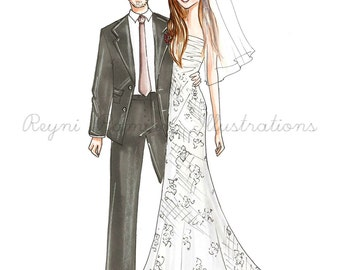 custom Couple illustration,custom wedding illustration, cutom bridal illustration,custom couple sketch,custom bridal sketch, wedding sketch