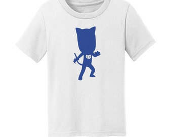 """PJ Heroes - """"Catboy's Silhouette"""" - Masks Heroes - Catboy T-Shirt - White Toddler, Youth, and Adult Size T-Shirt"""