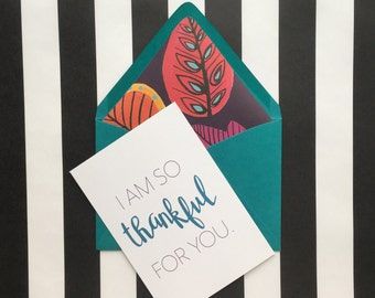 I am so thankful for you Card - Set of 5, Thanksgiving Card, Fall Card, Anniversary Card, Thankful For You Card, Love Card