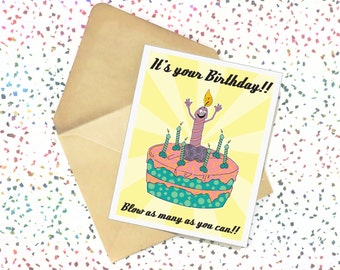 Blow As Many As You Can - Funny Birthday Card. Adult Greeting Card. Mature Card. Cards For Friend.